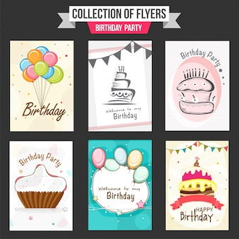 Coleção de insectos da festa de anos com ilustração de balões coloridos, de bolos doces e de queque