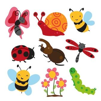 Coleção de insetos, design de vetores de insetos
