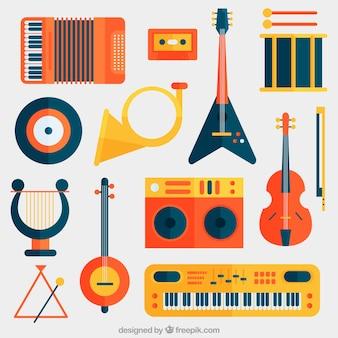 Coleção de instrumentos musicais planas