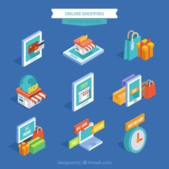 Coleção de itens de compras on-line isométricos