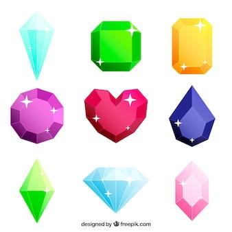 Coleção de jóias coloridas