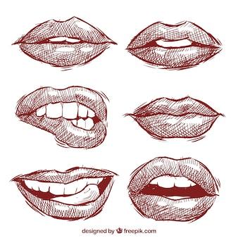 Coleção de lábios esboçado