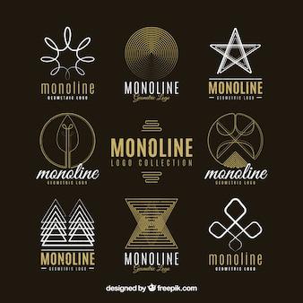 Coleção de logotipo abstrato linear
