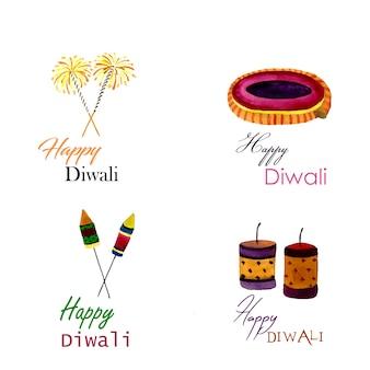Coleção de logotipo de aquarela Diwali