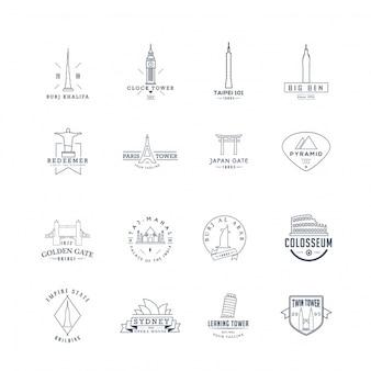 Coleção de logotipo de edifícios famosos