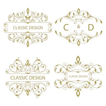 Coleção de logotipo de ornamento floral