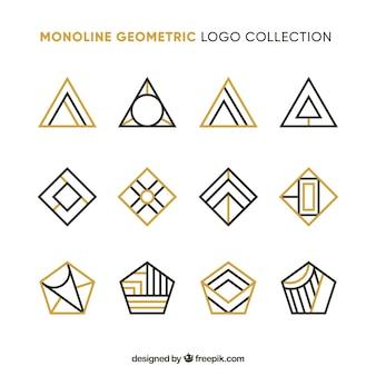 Coleção de logotipo geométrico dourado