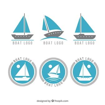 Coleção de logotipos azuis e cinzentos do barco