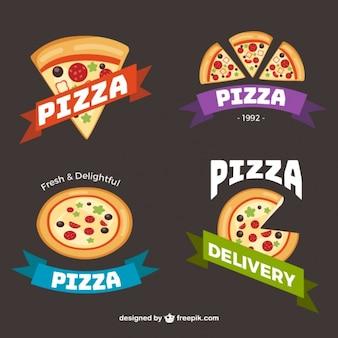 Coleção de logotipos com fatias de pizza