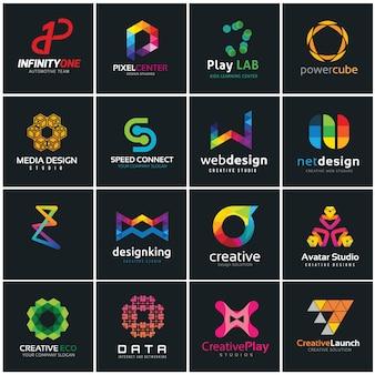 Coleção de logotipos criativos, Mídia e modelo de design de logotipo de ideia criativa.