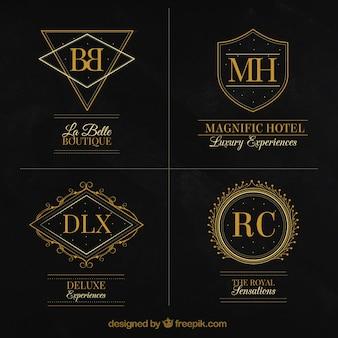 Coleção de logotipos de luxo elegantes