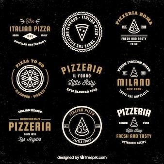 Coleção de logotipos de pizza vintage