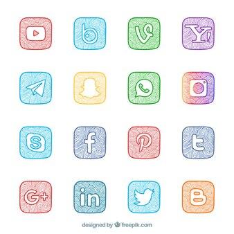Coleção de logotipos de redes sociais pintados à mão