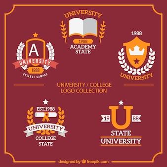 Coleção de logotipos universitário bonito