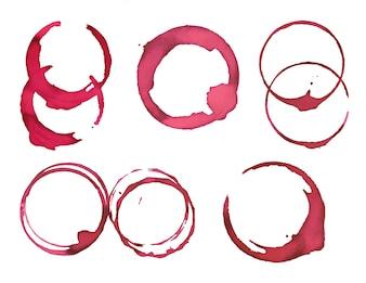 Coleção de manchas de tinta rosa arredondada