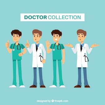 Coleção de médicos planos com diferentes expressões