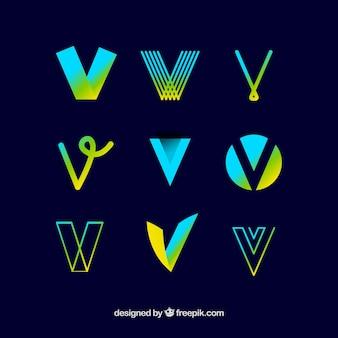 Coleção de modelo de logotipo da letra v