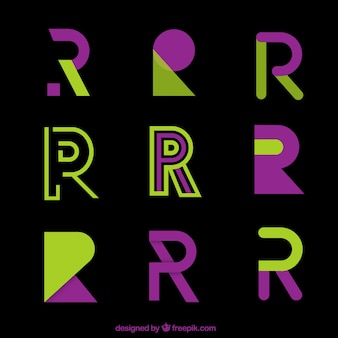 Coleção de modelo de logotipo r na letra moderna