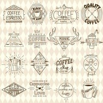 Coleção de moderno café esboçado etiquetas vetor
