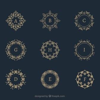 Coleção de monograma de ouro vintage