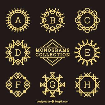 Coleção de monograma dourado decorativo