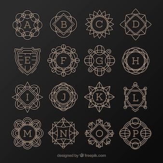 Coleção de monograma retro elegante