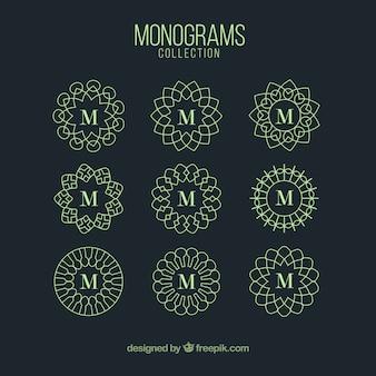 Coleção de monogramas de cor verde