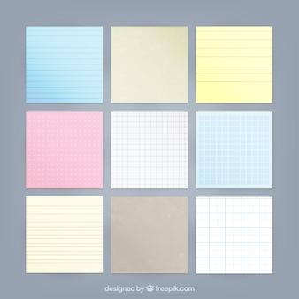Coleção de notas coloridas