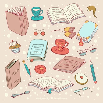 Coleção de objetos de leitura desenhados à mão