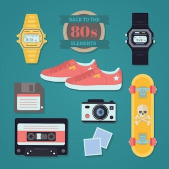 Coleção de objetos eighties no design plano