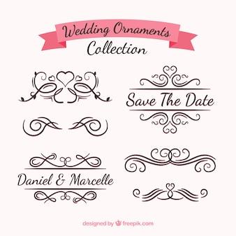 Coleção de ornamentos de casamento