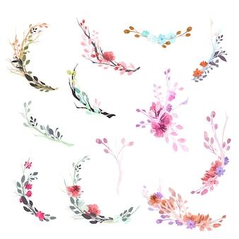 Coleção de ornamentos de flores