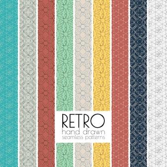 Coleção de padrões contínuos desenhados a mão retro. Fundos geométricos desenhados à mão. Papéis de parede vintage.
