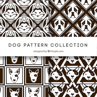 Coleção de padrões de cães preto e branco