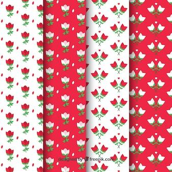 Coleção de padrões de rosa branca e vermelha