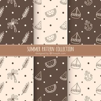 Coleção de padrões de verão marrom e bege