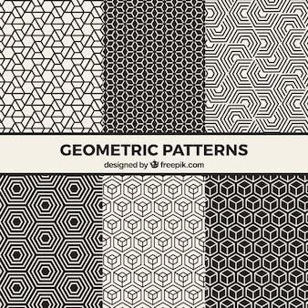 Coleção de padrões geométricos em preto e branco