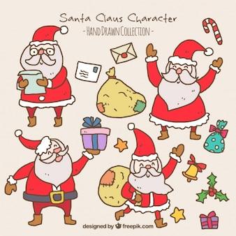 Coleção de Papai Noel felizes com sacos e letras