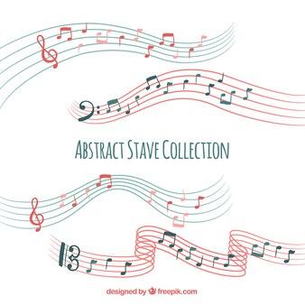 Coleção de pentagrama com notas musicais