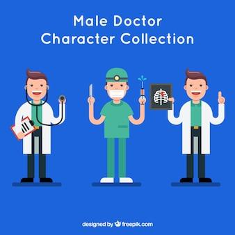 Coleção de personagem de médico feliz