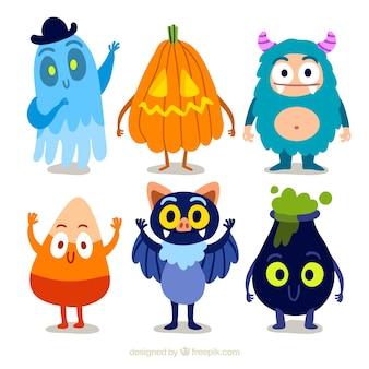 Coleção de personagem engraçado do Dia das Bruxas