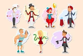 Coleção de personagens de circo