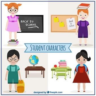 Coleção de personagens de estudante
