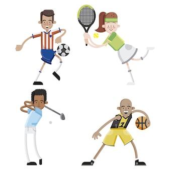 Coleção de personagens de jogadores esportivos