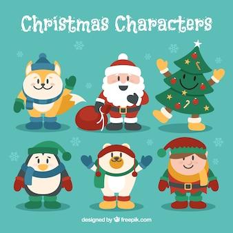 Coleção de personagens de Natal engraçados