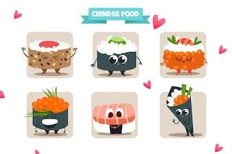 Coleção de personagens de sushi
