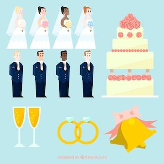 Coleção de personagens do casamento
