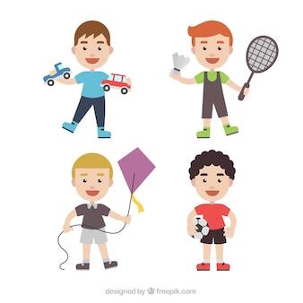 Coleção de personagens miúdo com brinquedos diferentes