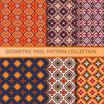 Coleção de pixels padrões sem emenda coloridos