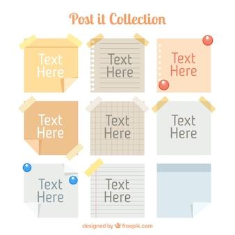 Coleção de post-it com texto
